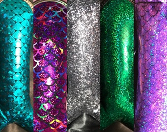 Mermaid Scale glass Case, padded pouch, Cushioned Drawstring bag, Pipe case, Vape pen case, Stash bag, Pipe Bag, Pipe pouch, toke bag