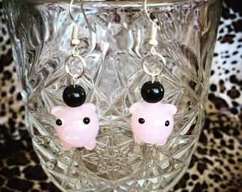 Pink Piggy Lampwork Glass Earrings