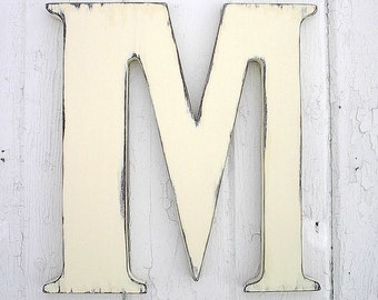 """Wooden Letters Distressed M 24"""" Large Wedding Guestbook Antique White Signage Gift"""