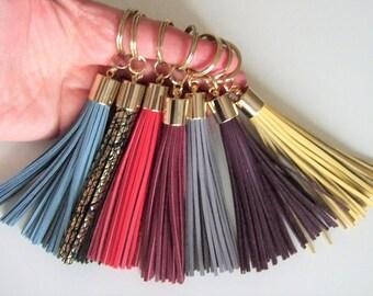 Leather Tassel Key Ring,Beauty gift,Purse charm,Tassel Fringe Key Chain,Holiday gift idea,Tassel Keychain,Red Tassel keyring,Wine accessory