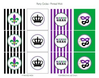 PRINTABLE Mardi Gras Collection Party Circles - Printed Wish