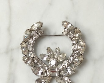 Signed Vintage Weiss Brooch - Silver and White Rhinestones in a Wreath and Bow Design - Classic Signed Costume
