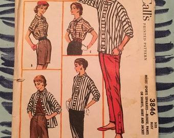 1956 Mccalls Sewing Pattern 3846 Misses Tailored Blouse,Straight Leg Pants, Shorts Skirt  Size 12 -cut- Vintage Pattern,1950s pattern