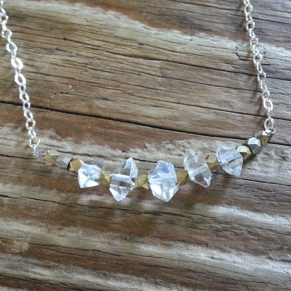 Herkimer diamond necklace with silver and gold