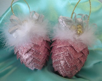 handcrafted Victorian Christmas Ornament Pretty in pink ribbon pinecone with feathers ornament