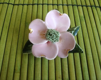 Vintage Apple Blossom Pin Brooche Handmade Ceramic with 24k gold Accents