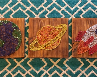 Space String Art Signs - Rocket - Planets