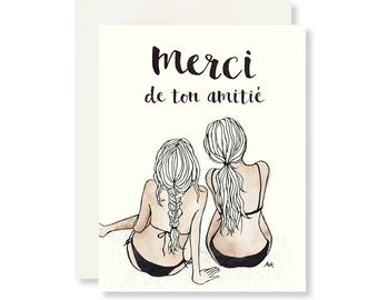 Merci Card / Beach Wedding Thank You Card / Best Friend Card / Beach Wedding / Summer Card / Thank You Card for Her/ Friendship Card