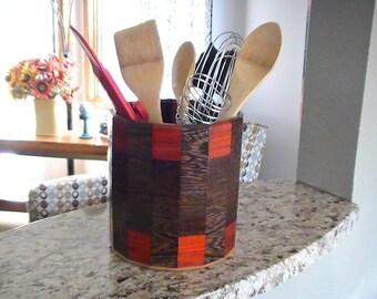 Kitchen Utensil Holder Made of Exotic Woods