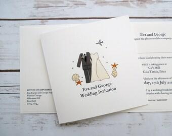 Beach Bride and Groom Wedding/Evening Invitations