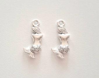 2 antique silver metal Mermaid charms