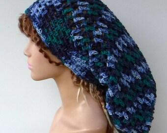 Roadhouse Blues Dreadlocks hat, Very long hat, Dread Tam hat, Slouchy Beanie, Hippie slouch Hat,  Baggy snood sock hat, Handmade crochet