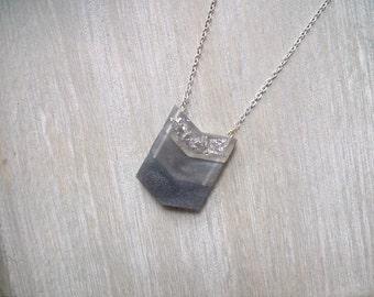 Long necklace, Chevron necklace, Ombre  grey necklace, Geometric necklace, pendant necklace
