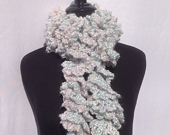 Curly Boa Scarf in Pastel Pink and Blue