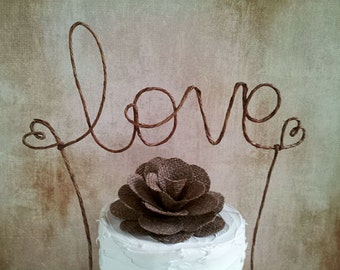 Rustic LOVE Cake Topper Banner - Rustic Wedding Cake Topper, Shabby Chic Wedding Cake Topper, Barn Wedding, Garden Party