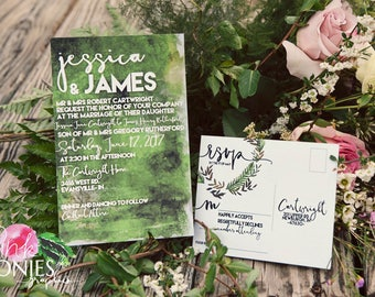 Moss and Fern Invitations - Wedding Invitations - watercolor - green