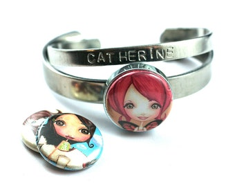 Daughter Bracelet   Personalized   Gift for Young Girl   Stackable, Bangle   Fairy, Mermaid and Pilot Designs, Recycled Steel, Magnetic