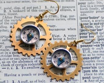 Wearable Tech Mini Compass Earrings, Brass Gear Earrings, Steampunk Jewelry, Working Compass Moving Compass Industrial Geek Nerd Earrings