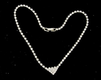 """rhinestone necklace with triangle drop 16"""""""