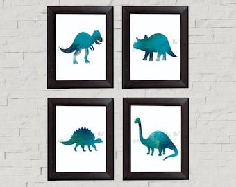 Dinosaur Watercolor Wall Art
