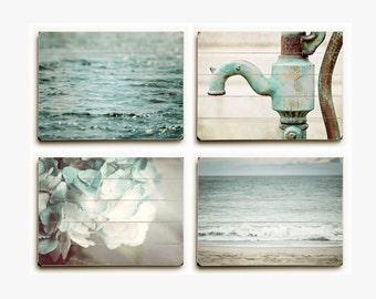 Wood Plank Sign Set: Teal Set of 4, Bathroom Art, Teal Bathroom Decor, Aqua Bathroom Art, Cottage Bathroom Art, Blue Bathroom Decor.