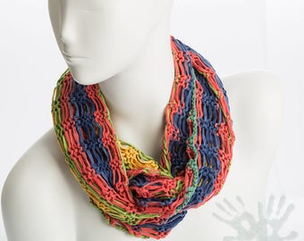 Hand knitted scarf / Multi color knit Scarf  / Cotton / Loop scarf  / Cotton knit / Summer scarf / Necklace.