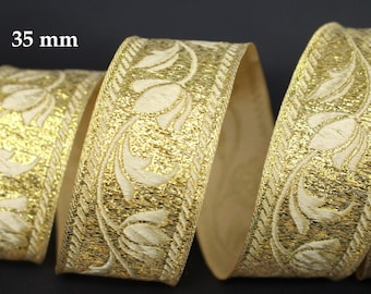 to order! 10 m Ribbon embroidered Jacquard * medieval * 35 mm width