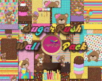 60 % Off Sugar Rush Wall Pack for Mobile Devices, Instant Download, Iphone, Android, Sweets, Bears, Cute