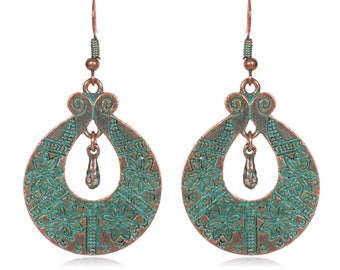 copper dangle earrings verdigris patina