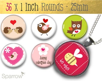 Valentines Day Kisses and Hearts - (1x1) One inch Round Collage Images - Printable Digital Sheet  - Buy 2 Get 1 Free - Digital Download