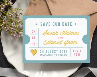 Ticket Stub 'Save the Date' Card / 'Just the Ticket' Wedding Card / Just Engaged / Blue Yellow Pink / Custom Colours Available / ONE SAMPLE