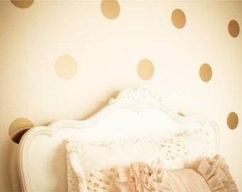 "Gold Polka Dots, Polka Dot Decals, Gold Circles, Gold Dots, Polka Dot Decor, Metallic Gold Polka Dots, Vinyl Wall Decals - 2"" thru 11"" Dots"