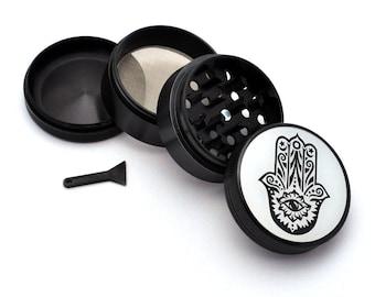 Herb Grinder - Black Aluminum Alloy Hamsa Picture Grinder