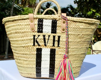 black striped personalized french market basket, custom monogrammed beach bag, customize bridesmaid bag,monogrammed straw bag, initialed bag