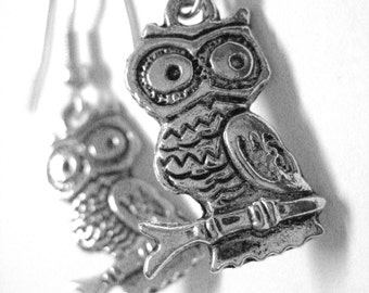 Sterling Silver Owl Earrings - Clip On Earring Hook Option - Silver Owl Jewelry 146
