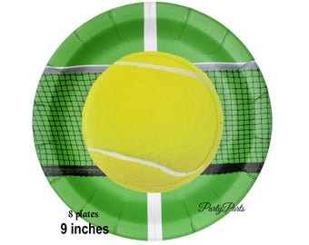 Tennis plates, sports player graduation party decorations, 8CT, 9 inches, dinner plates, paper tableware, net, serve, birthday, team, balls