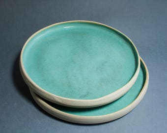 Handmade dinner plate. Ready to Ship. Light turquoise 8 inch pottery rustic dinnerware. Gifts for husband. 30th birthday for her.