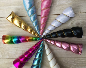 NEW color UNICORN HORNS--Indvidual or set of 5: gold, black, hot pink, light pink, blue rainbow or white
