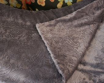 Lovely Charcoal Gray Embossed Paisley Minky Double Sided Throw