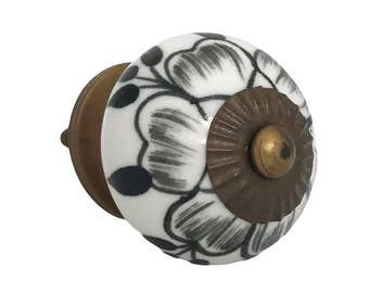 Black Buttercup Ceramic Decorative Knob Pull for Cabinets, Drawers, Doors, Furniture - i402
