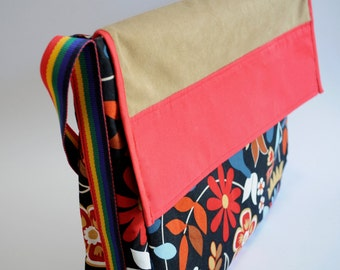 Colourful Messenger Bag - Book Bag - Handcrafted Canvas Bag with red cotton lining including inside pockets