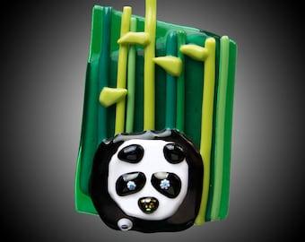 Panda in Bamboo glass magnet