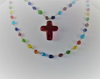 Colorful Bead Two Strand Necklace with Red Cross