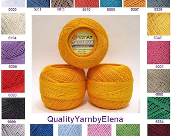 100% mercerized cotton yarn knitting crochet by yarnart canarias 20g 203 m (222 yards)