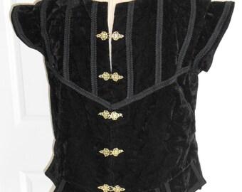 New Renaissance Tudor Medieval Black Noble Court Vest Jerkin Doublet Costume