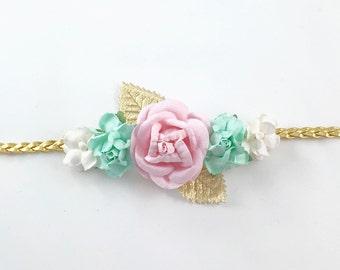 Mint Headband, Pink headband, White Headband, Gold Headband, Boho Headband,  Pink Headband, flower girl Headband, Mint and Pink Headband