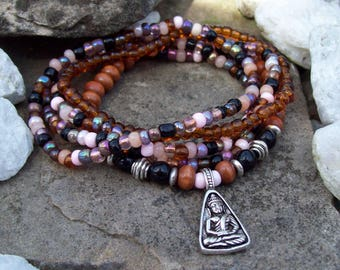 Boho Hippie - Stretch Stack Bracelets with a Buddha with a design on both sides. Lotus sitting Buddha bracelet stack