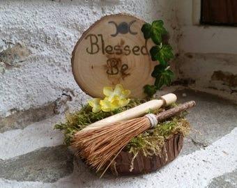 Blessed Be altar decor, pagan altar decor, hedgewitch altar decor, pagan home decor handfasting gift ideas