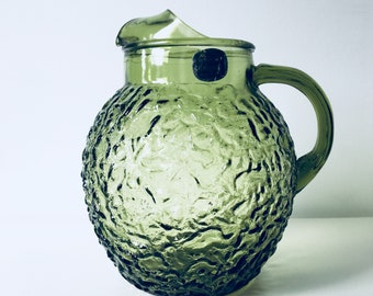 Vintage Avocado Green Anchor Hocking Glass Pitcher