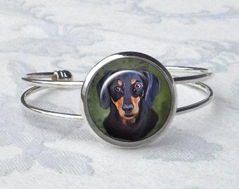 Custom Dachshund Cuff Bracelet ~ Birthday Gift ~ From Your Photos ~ Dog Bracelet ~ Pet Keepsake ~ Doxie Jewelry